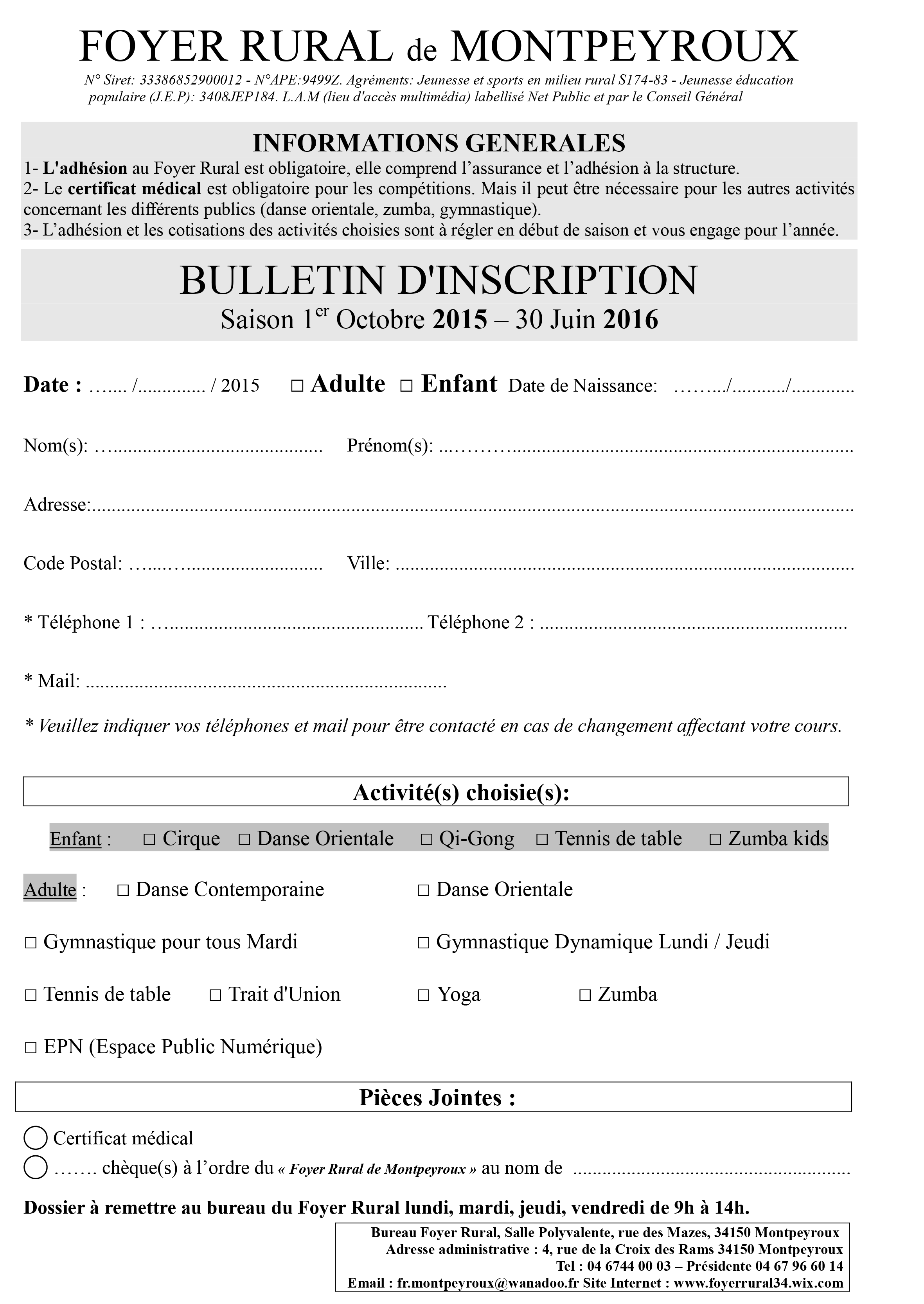 Bulletin d'inscription 2015-2016